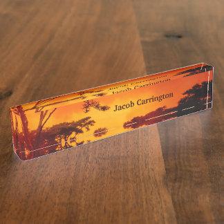 Orange African Sunset Name Plate