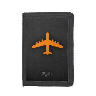 Orange Airplane Tri-fold Wallets