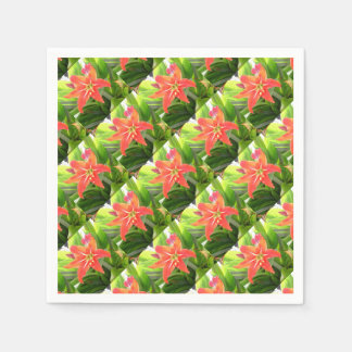 Orange Amaryllis Flower Blooms in Springtime Disposable Napkin