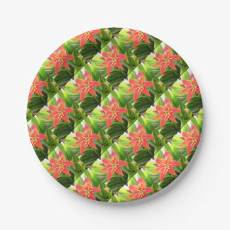 Orange Amaryllis Flower Blooms in Springtime Paper Plate