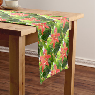 Orange Amaryllis Flower Blooms in Springtime Short Table Runner