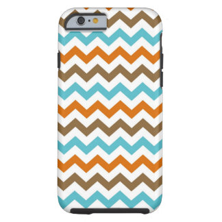 Orange and Aqua Chevrons Pattern Tough iPhone 6 Case