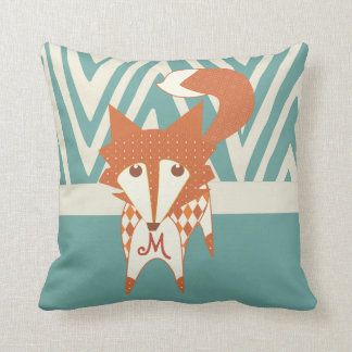 Orange and Aqua Monogramed Stylized Fox Pillow