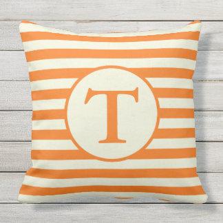 Orange and Beige Striped Monogram Pillow