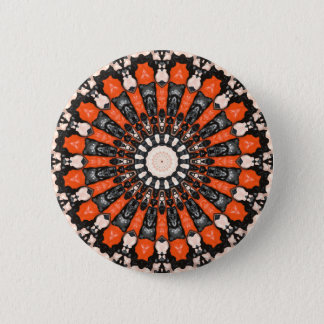 Orange And Black Abstract 2 Inch Round Button