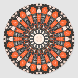 Orange And Black Abstract Classic Round Sticker