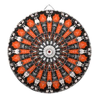 Orange And Black Abstract Dartboard