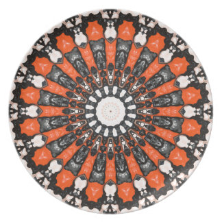 Orange And Black Abstract Plate