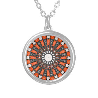 Orange And Black Abstract Silver Plated Necklace