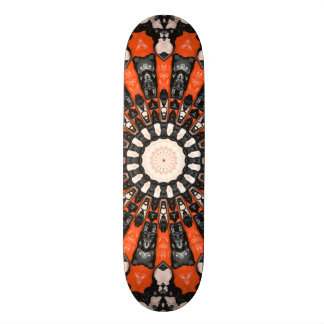 Orange And Black Abstract Skate Board Deck