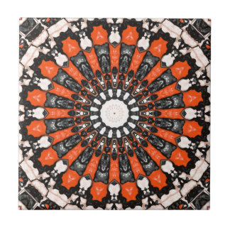 Orange And Black Abstract Tiles