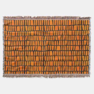 Orange and black african tribal pattern throw