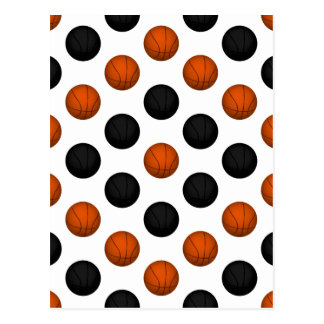 Orange and Black Basketball Pattern Postcard