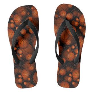 Orange and black basketballs everywhere flip flops