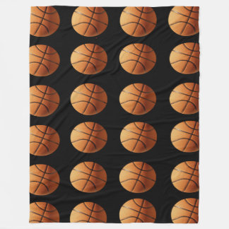 Orange And Black Basketballs Pattern, Large Fleece Blanket