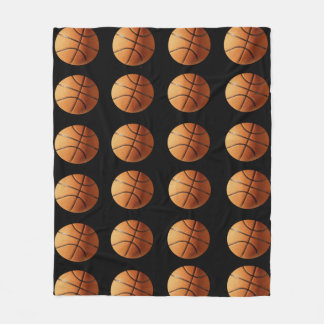 Orange And Black Basketballs Pattern, Medium Fleece Blanket