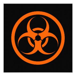 Orange and Black Bio Hazard Circle Personalized Invitation