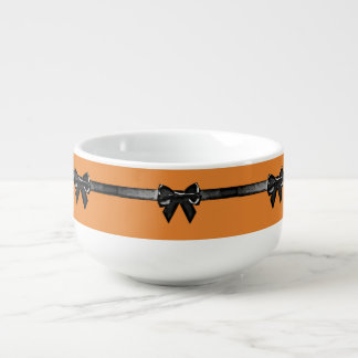 Orange and Black Bows HALLOWEEN Jumbo Soup Bowl Soup Bowl With Handle