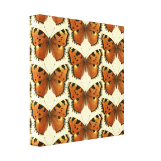 Orange and Black Butterflies Pattern Canvas Print