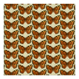 Orange and Black Butterflies Pattern Poster