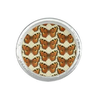 Orange and Black Butterflies Pattern Rings