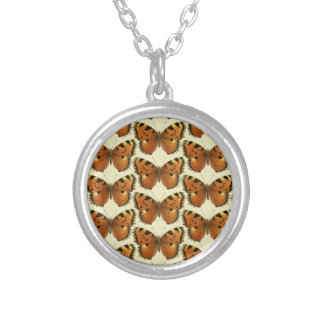 Orange and Black Butterflies Pattern Silver Plated Necklace