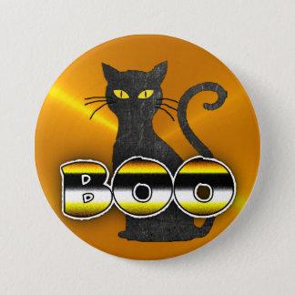 Orange and Black Cat BOO Halloween Button