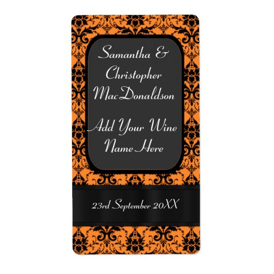 Orange and black damask wedding wine bottle shipping label