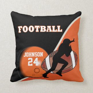 Orange and Black Football | DIY Name & Number Throw Pillow