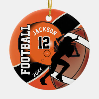 Orange and Black Football Player Ceramic Ornament