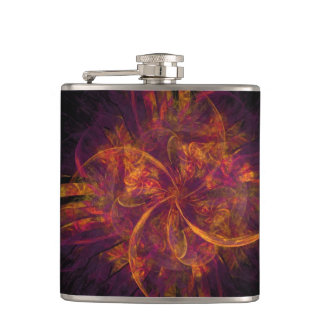 Orange And Black Fractal Hip Flask