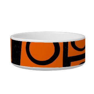 Orange and Black Fun Circle Squares Pattern Gifts Pet Water Bowl