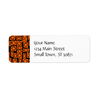 Orange and Black Fun Circle Squares Pattern Gifts Return Address Label