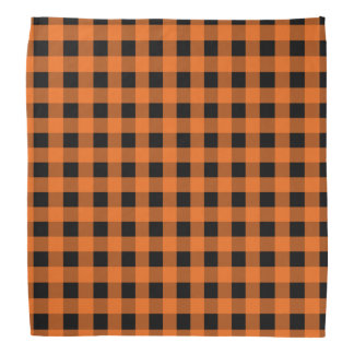 Orange and Black Gingham Bandana