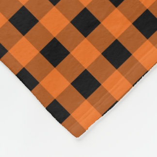 Orange and Black Gingham Checked Pattern Fleece Blanket