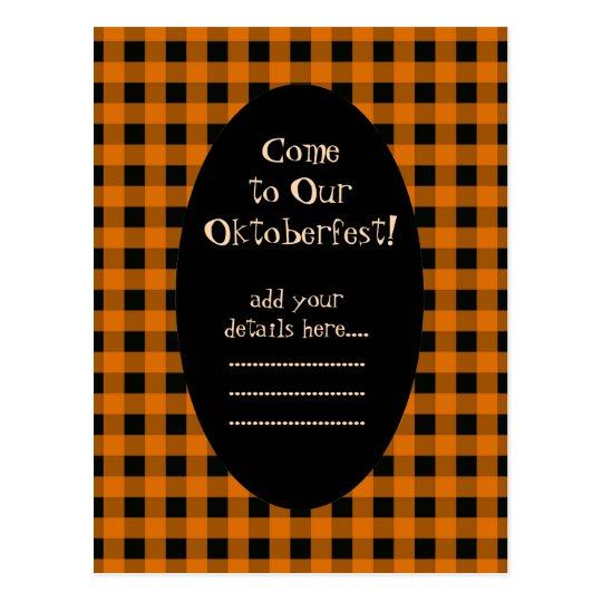 Orange and Black Gingham Oktoberfest Invitation Postcard