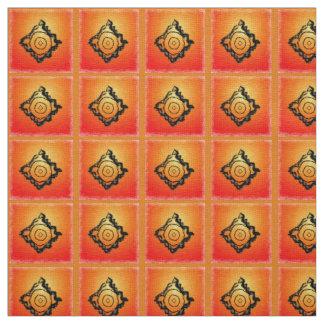 Orange and Black Gradient Print Ivory Linen Fabric