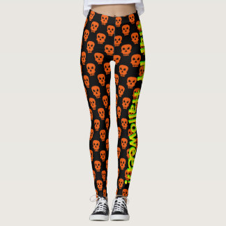 Orange and Black Happy Halloween Skull Pattern Leggings