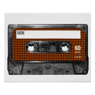 Orange and Black Houndstooth Cassette Poster