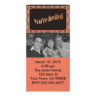orange and black invitation photo card template