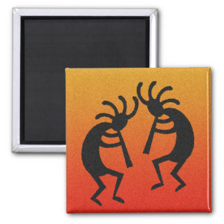 Orange And Black Kokopelli Magnet