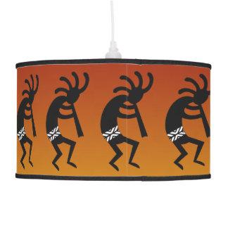 Orange And Black Kokopelli Southwestern Design Pendant Lamp