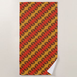 Orange And Black Kokopelli Tribal Pattern Beach Towel