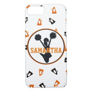 Orange and Black Megaphones Cheer Personalized iPhone 8/7 Case