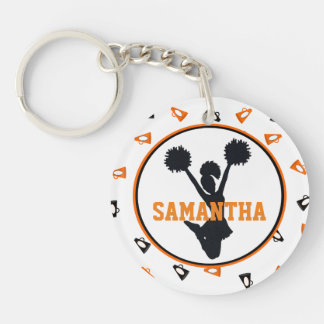 Orange and Black Megaphones Cheerleader Photo Keychain