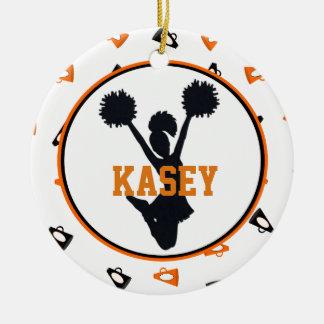 Orange and Black Megaphones Cheerleader Round Ceramic Ornament