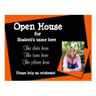Orange and black open house invitation postcard