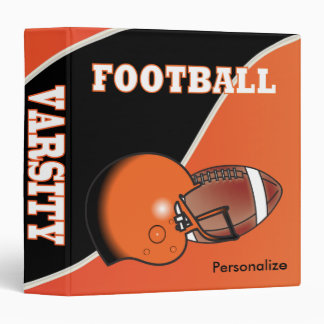 Orange and Black Personalize Football 3 Ring Binder