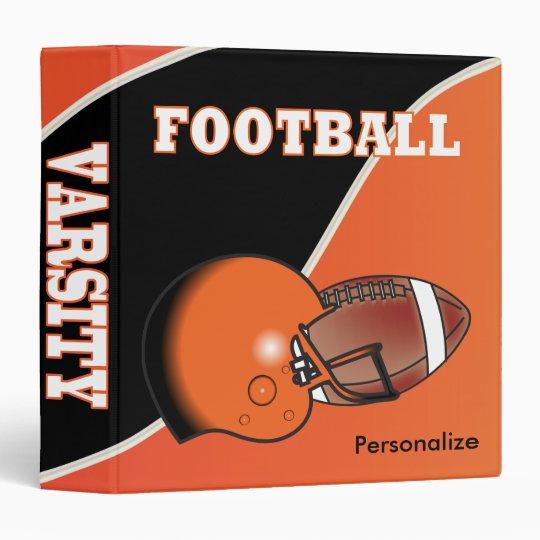 Orange and Black Personalize Football Vinyl Binders