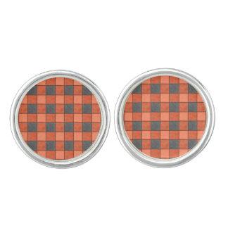 Orange and Black Plaid Check Cufflinks